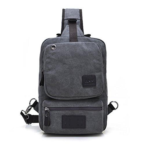 Vintage Leisure Single Shoulder Bag Mini Backpack Messenger Chest Bag for Men (Brown) - 2
