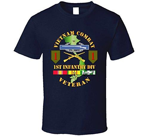 XLARGE - Army - Vietnam Combat Infantry Veteran W 1st Inf Div Ssi V1 T-shirt - Navy