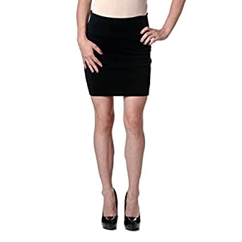 Stretch Simple Cotton Mini Skirt Minijoup Basic Plain Skirt, Black, Small