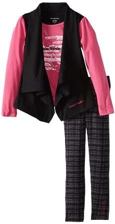 Calvin Klein Little Girls' Top with Pants 4-6X, Black, 5