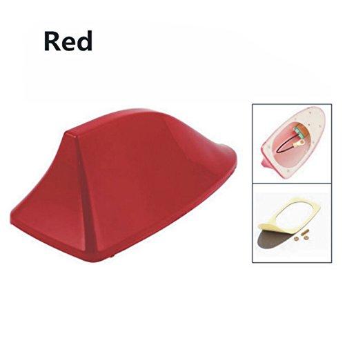 Lanlan Universal fibra patrón de carbono autoadhesivo Shark Fin Diseño Antena para BMW Antena modificación, Rojo