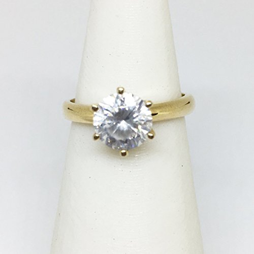 Tiffany Prong 6 (1 Carat Cubic Zirconia 14K Yellow Gold 6 Prong Ring (Size 4))