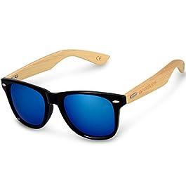Navaris UV400 Bamboo Sunglasses – Unisex Retro Wooden Optics Glasses – Classic Wood Shades Women Men – Eyewear with Case Polarized Lenses