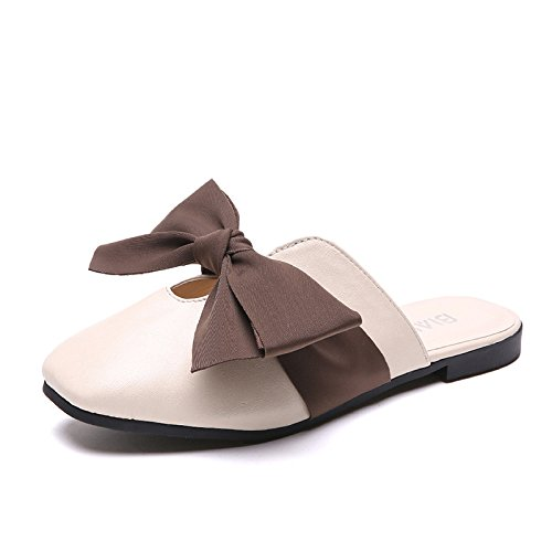 Women'S With Proof Riding Wear Summer white Skid Bow Flat WHLShoes slippers Low Baotou And Slippers Fashion Low Rice women Bottomed avxRqYZ
