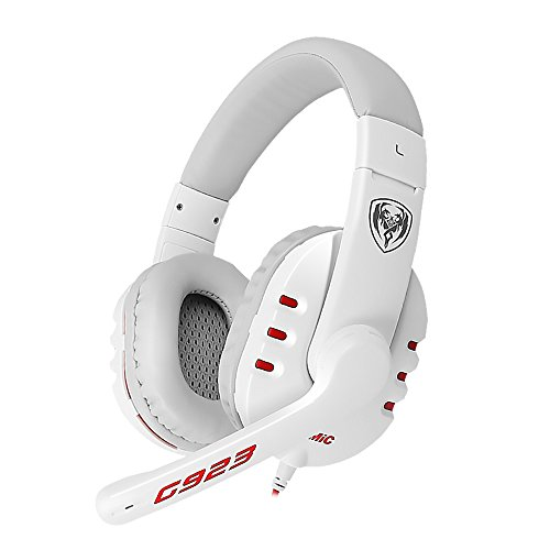 SOMIC G923 3.5mm Stereo Gaming Headset Over Ear Headphone with Mic,Volume Control for PC,Laptop,Phone,PS4,XboxOne(White)