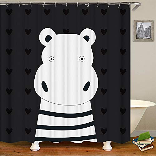 OCCIGANT Cartoon Bear Decor,Cute Naked Bear with Black and White Striped Pajama Bottoms Very Funny,Polyester Fabric Bathroom Shower Curtain Set with Hooks,Black White