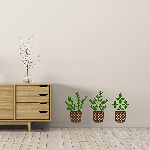CECILIAPATER Herb Pots Wall Decal, 3 Little Herb Planter Pots, Gardening Decal, Nature Wall Art, Plant Pots, Herb Decal, Herb Sticker, Wall -