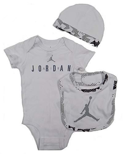 Nike Air Jordan 3-Piece Bodysuit, Bib and Cap Set (6/9 Months) White