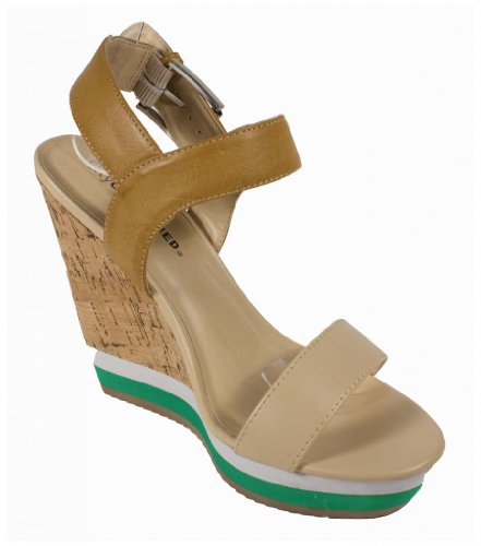 Chiyo! By City Classified Two Color Cork Wrapped Platform Wedge Sandal with Adjustable Ankle Strap in Nude Leatherette 9hcVzq