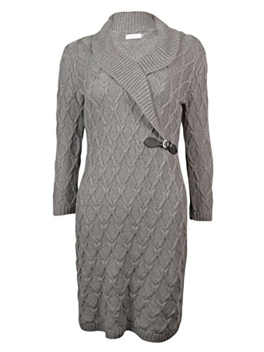 Shawl Collar Sheath (Calvin Klein Women's 3/4 Sleeve Side Buckle Sweater Dress, Tin, Large)