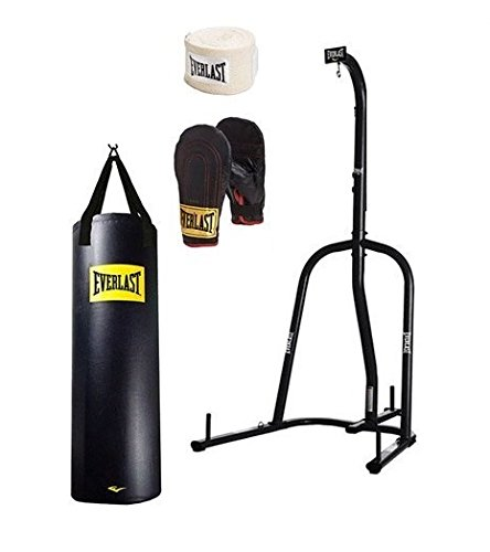 Everlast Single-Station Heavy Bag Stand and 100lb Heavy Bag Kit Value Bundle (Best Stand Up Punching Bag)
