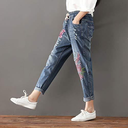 Donna Nove Jeans In A Pantaloni Pants Con Punti Casual Harem Elastico Ricamati Alta Larghi Blu Vita PPwraH