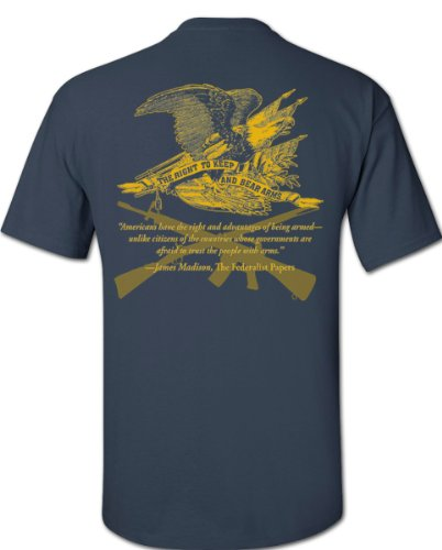 (Gadsden and Culpeper Right to Bear Arms T-Shirt - Blue Dusk - Large)