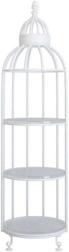 KIKIRon-HAR Soporte para Plantas de jardín, 3 Niveles, de Metal, con Pedestal de Acero Estable y Forma de Jaula para pájaros, para Uso en Interiores y Exteriores, Metal, Blanco, 40 * 40 * 142cm