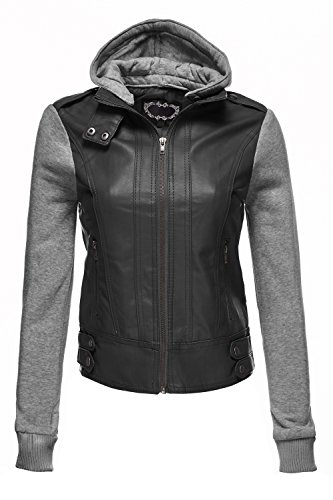 hooded faux leather jacket - 6