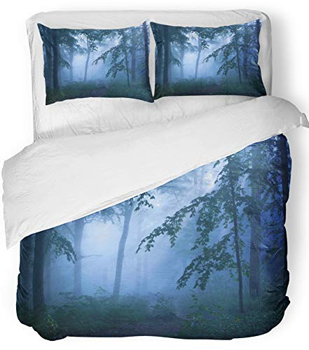 Emvency Bedsure Duvet Cover Set Closure Printed Decorative Blue Bizarre Trees Silhouetted in the Mist Green Branches Bushes Dark Deciduous Breathable Bedding Set With 2 Pillow Shams King Size