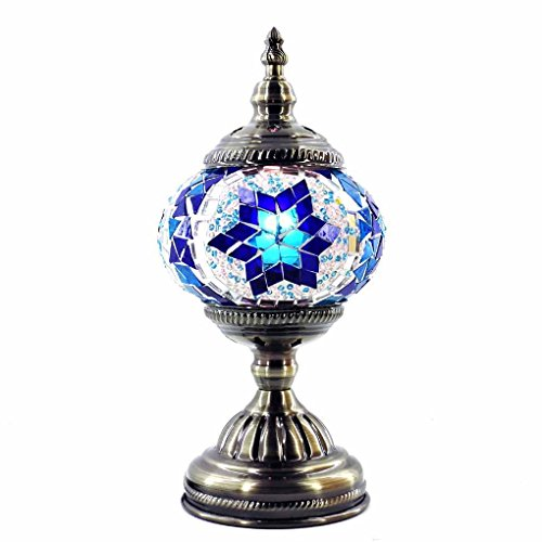 Silver Fever Handcrafted Mosaic Turkish Lamp -Moroccan Glass - Table Desk Bedside Light- Bronze Base (Blue Star Of David) (Mosaic David Of Star)