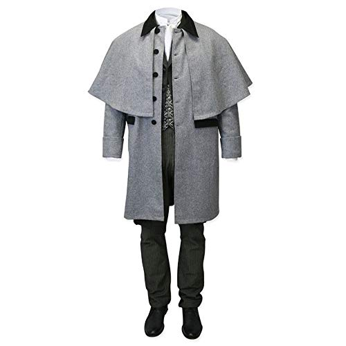Gtealife Mens Capecoat Costume Button Down Victorian Wool Trench Inverness Cape with Pockets (Grey, XL)