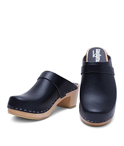 buy cheap wide range of free shipping newest Sandgrens Swedish High Heel Wooden Clog Mules for Women | Dublin Black xn5Rf6My