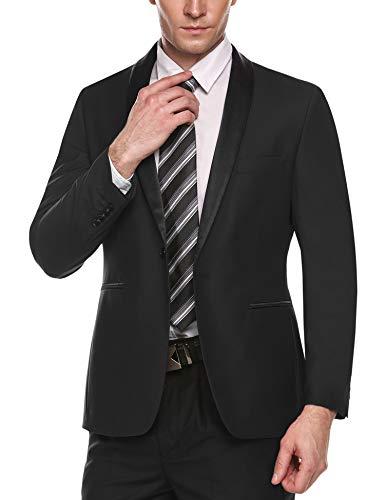 COOFANDY Men's Slim Fit Blazer Jacket Casual One Button Suit Coat (Small, Black)