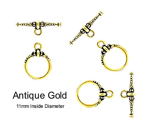 PlanetZia 4 sets Round Heirloom Toggle Clasp for Jewelry Making TVT-6070 (Antique Gold)
