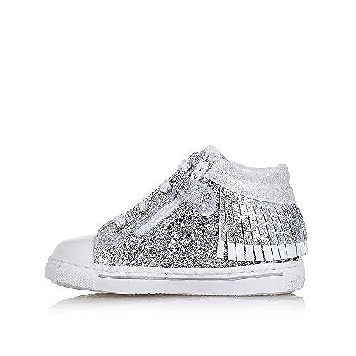 Nero Giardini Chaussure à Lacets Blanche Et Argente en Cuir avec Glitter, Franges à l'Arrière, Fermeture éclair Latéral, Fille, Filles