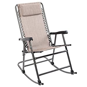Timber Ridge Rocking Chair Breathable Mesh Adjustable Headrest Folding Patio Lawn Reclining with Armrest Supports 300lbs