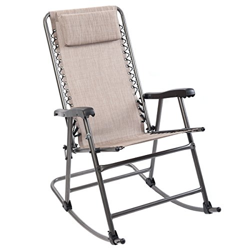 Timber Ridge Rocking Chair Breathable Mesh Adjustable Headrest Folding Patio Lawn Reclining with Armrest Supports 300lbs by Timber Ridge