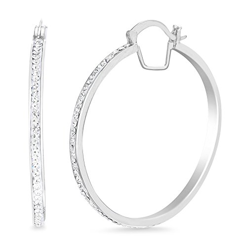 (Devin Rose 40mm Hoop Earrings for Women Made With Swarovski Crystal in Rhodium Plated Brass)