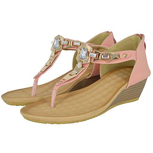 verano sandalias Minetom negro Moda cuña con de Nuevas Elegantes Mujer imitación diamantes de adorno de sandalias de r1XqHn0qw