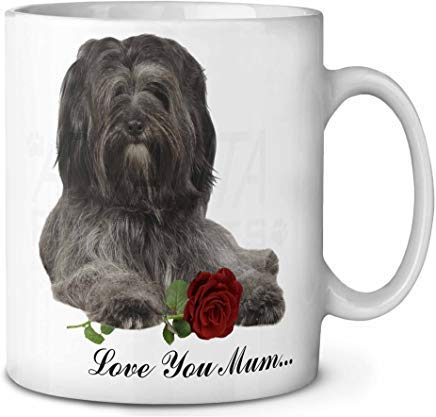 Voicpobo Tibetan Terrier+Rose 'Love You Mum' Novelty Ceremic Coffee Mugs 11 Oz Christmas Birthday Mug Gifts for Mom,for Dad,for Girls,for Kids