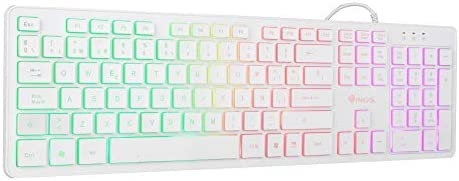 NGS Sprite Kit - Pack Teclado Multimedia y Ratón con Cable Retroiluminado, Mouse Óptico 800/1200/1600 dpi, Gaming, Color Blanco: Amazon.es: Hogar