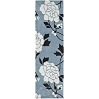 Safavieh Modern Art Collection MDA622A Handmade Contemporary Floral Blue and Ivory Polyester Runner (23 x 8)