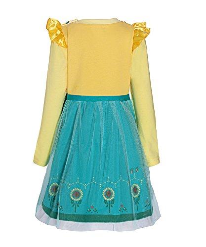 Loel Little Girls False Two-Piece Long Sleeve Princess Anna Dress