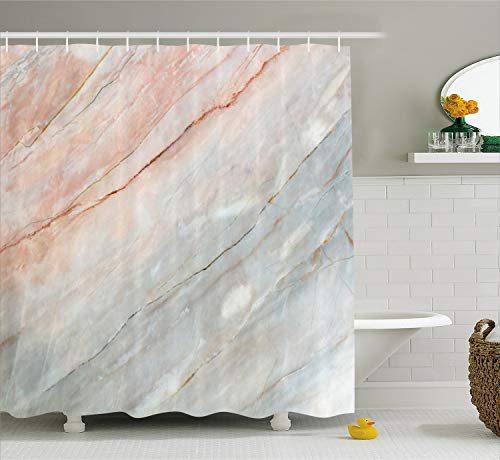 (Ambesonne Marble Shower Curtain, Onyx Stone Textured Natural Featured Scratches Illustration, Cloth Fabric Bathroom Decor Set with Hooks, 75