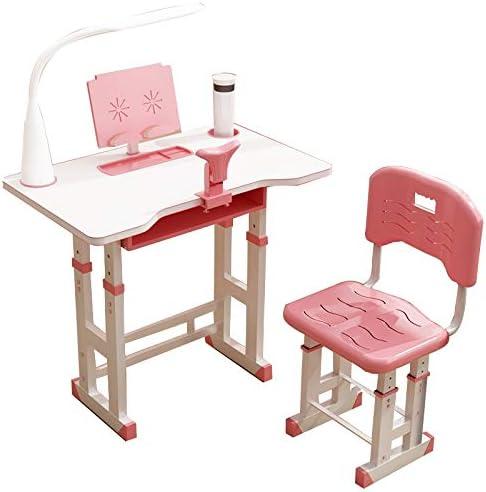 学習デスク 子供の学習テーブルと椅子セット、高さ調節可能キッズデスクセット 、プラスチック製インタラクティブワークステーション、LEDランプ、調節可能な装具 (Color : Pink, Size : Desktop:70cm)