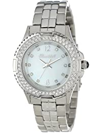 Bombshell Women's BS1075-STEEL/MOP Harmony Swarovski Crystal Stone Case Stainless Steel Bracelet Watch
