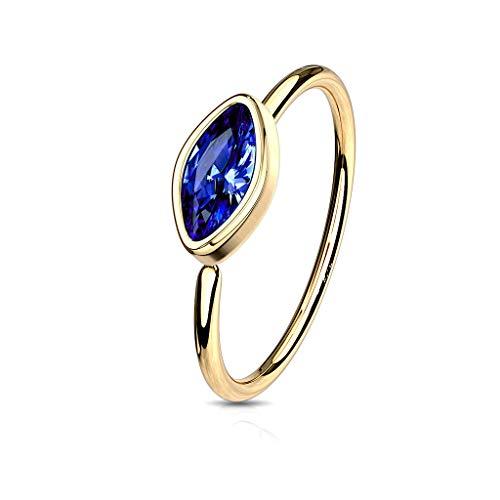 Amelia Fashion 20 Gauge Bezel Set CZ Marquise Bendable Nose Ring Hoop Surgical Steel (Choose Color) (Gold/Blue) (Cubic Zirconia 20 Ga)