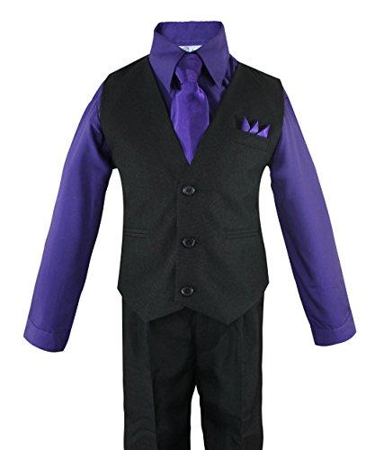 Luca Gabriel Toddler Boys' 4 Piece Vest Shirt Tie Pant and Hanky Set Purple - (Formal Vest Set)