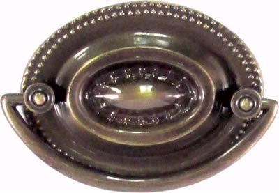 "Sheraton Antiqued Brass Oval Drawer Pull Handle Centers: 2-1/2""|Antique Cabinet, Vintage Cupboard, Old Desk Reproduction Restoration Hardware + Free Bonus (Skeleton Key Badge) |AB-0801 (1)"