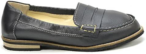 Ogswideshoes Cha'risa Black Leather Flats Moccasins Extra Wide Fit