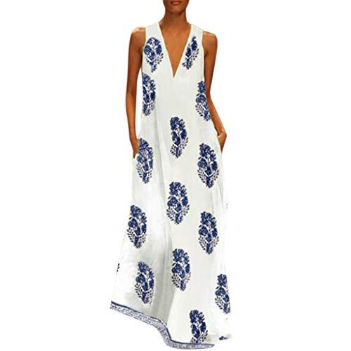 Zlolia Women's Boho Print Retro Straight Dresses Pocket Sleeveless Vest Linen Deep V Mixi Dress Summer Beach Casual Skirt Blue