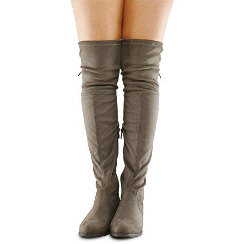 Premier Standard Damenmode Bequeme Vegane Wildleder Blockabsatz Seitlicher Reißverschluss Zurück Spitze Oberschenkel Hohe Overknee Stiefel Taupe Su