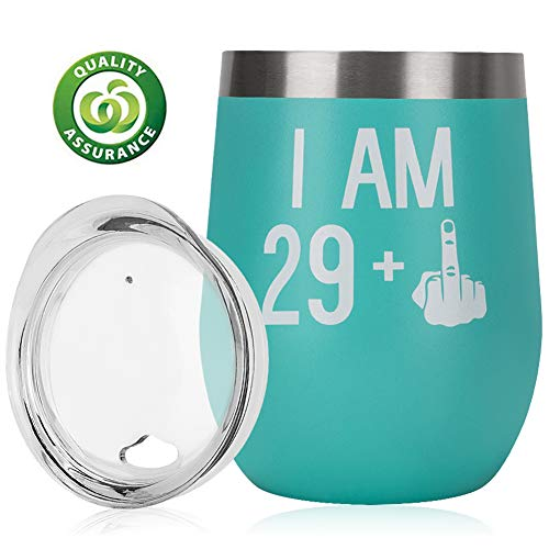 30th Birthday Gifts For Women Men|30th Bday For Her Him|29 + One Finger|Funny Wine Gift Idea| 12oz Insulated Stainless Steel Tumbler with lid|Funny Turning 30 Gift |Anniversary Gift Idea for Him, Her -