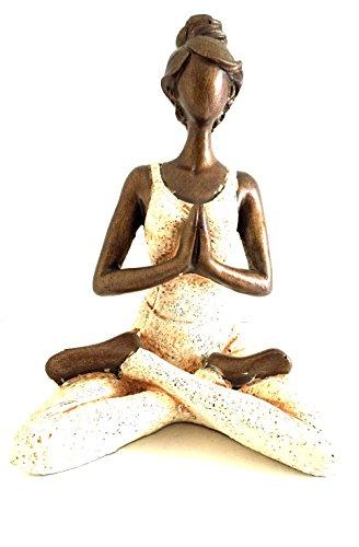 (OMA Yoga Statue Meditation Sculpture Bali Art Abstract Bronze Finish Yoga Lady, 10