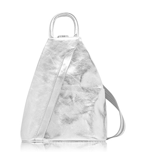 Super Shoulder Bag amp; Rucksack Backpack Leather Italian Silver Soft RXqwvrR