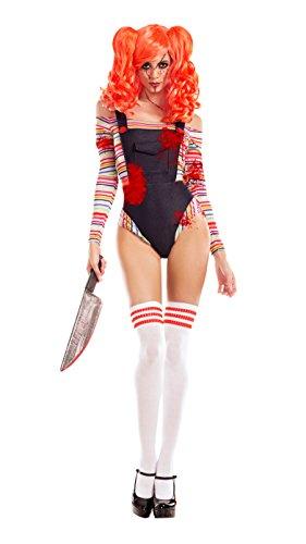 Party King Women's Killer Doll Costume, Denim/Multi, X-Large