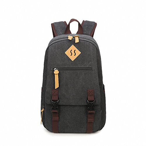 Casual Simple Men Canvas Travel Backpack Vintage Solid College Student Boys Laptop Bag Black 14 Inches by Boasij