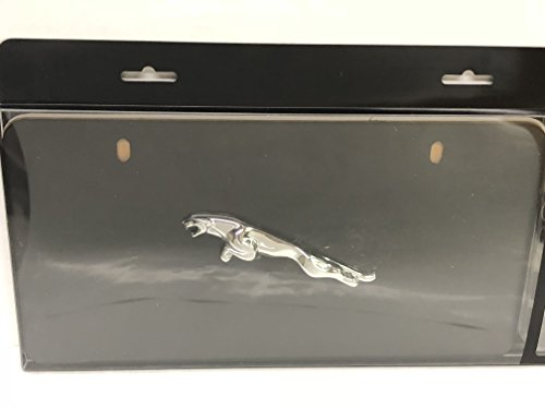Jaguar OEM Accessory Front Black License Plate with Chrome Leaper in the Centrt by Jaguar