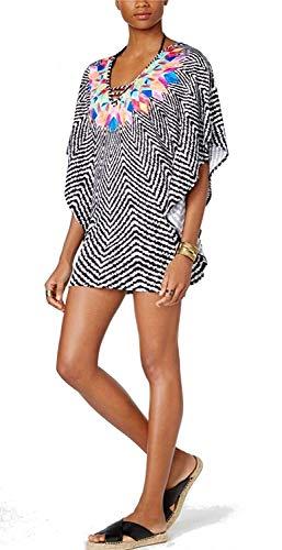 Bar III Women's Feather Daze Caftan Tunic Swimwear Cover up (Black/White Multi, Medium) from Bar III